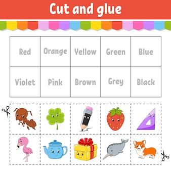 Taglia e incolla giochi di apprendimento a colori per la scuola materna