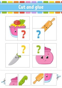 Taglia e incolla. imposta le schede flash. puzzle di colore. foglio di lavoro per lo sviluppo dell'istruzione.