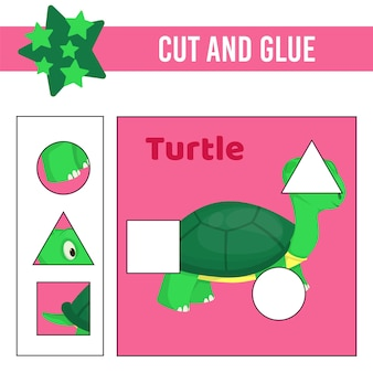 Taglia e incolla il foglio di lavoro. gioco per bambini. foglio di lavoro per lo sviluppo dell'istruzione. pagina delle attività a colori.