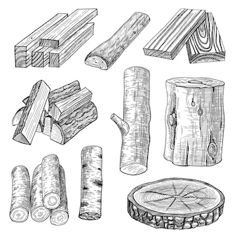 Insieme di illustrazioni incise di tronchi tagliati, legna da ardere e assi