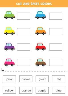 Taglia i nomi dei colori e incollali. foglio di lavoro per bambini.