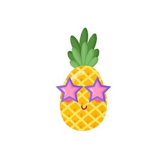 Tagliare l'ananas con gli occhiali in stile cartone animato. illustrazione vettoriale