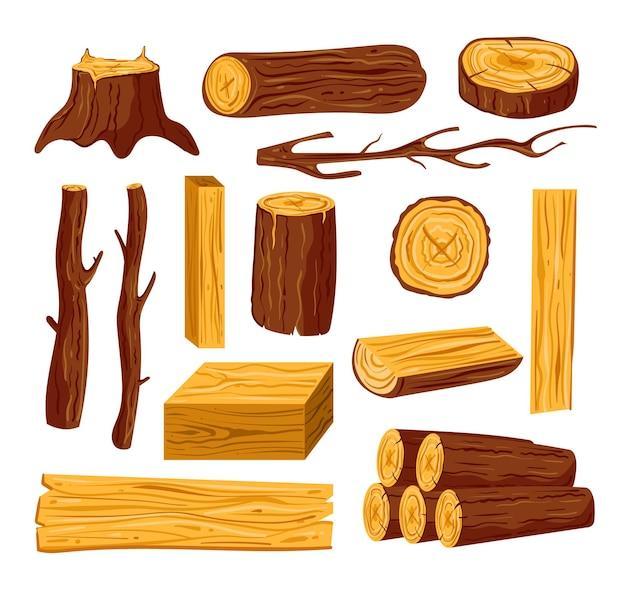 Tagliare tronchi di legno grezzo e tavole di pino quercia su sfondo bianco isolato set