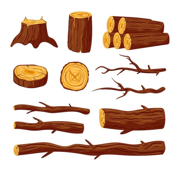 Tagliare tronchi di legno grezzo e tavole di pino quercia isolati