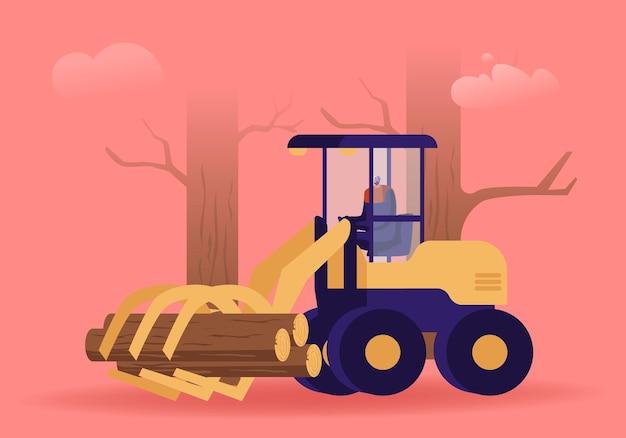 Tagliare l'occupazione nell'industria del legno. boscaiolo che guida la mietitrice del ceppo che lavora alla zona della foresta per sradicare, fumetto illustrazione piana
