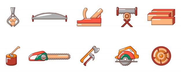 Tagli l'insieme dell'icona dello strumento di legno. l'insieme del fumetto delle icone di legno di vettore dello strumento del taglio ha messo isolato