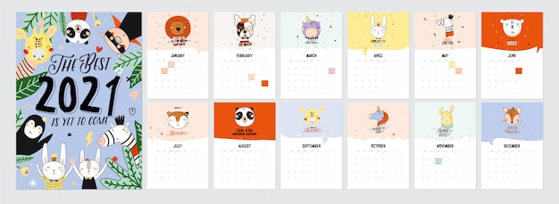 Simpatico calendario 2021. calendario planner annuale con tutti i mesi. buon organizzatore e programma. illustrazione di vacanza carina con animali divertenti.
