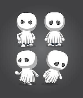 Simpatici personaggi dei cartoni animati 2d coperte fantasma alla festa della notte di halloween con vari stili
