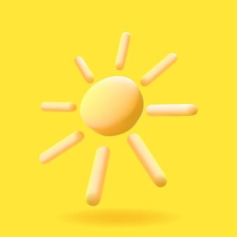 Carino 3d reso illustrazione vettoriale icona di bright sunutilizzare per bambini libri gioco illustrazione