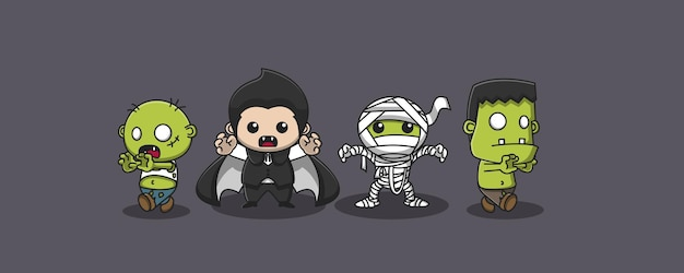 Simpatici 4 fantasmi illustrati, 2 zombi, dracula e la mummia