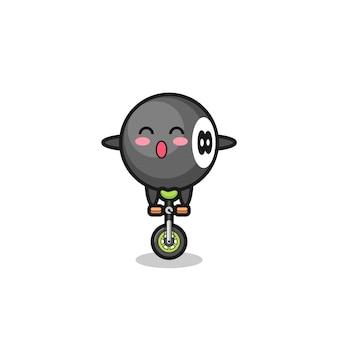 Il simpatico personaggio del biliardo a 8 palle sta cavalcando una bici da circo, un design in stile carino per t-shirt, adesivo, elemento logo