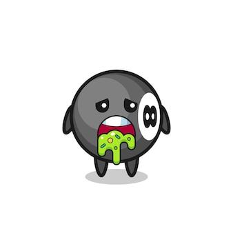 Il simpatico personaggio da biliardo a 8 palle con vomito, design in stile carino per maglietta, adesivo, elemento logo