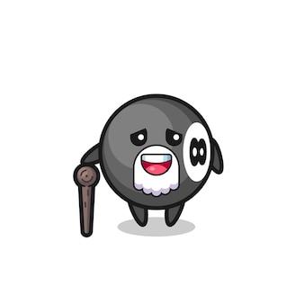 Il simpatico nonno da biliardo con 8 palline tiene in mano un bastone, un design in stile carino per maglietta, adesivo, elemento logo