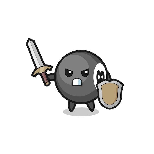 Simpatico soldato di biliardo a 8 palle che combatte con spada e scudo, design in stile carino per t-shirt, adesivo, elemento logo