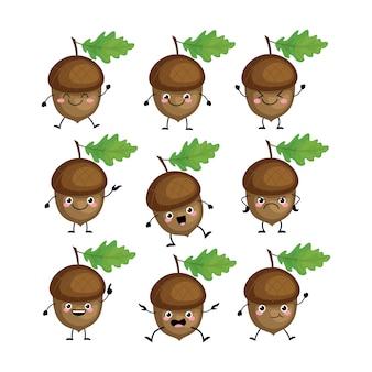 Caratteri di ghianda svegli impostati con diverse emizioni illustrazione. noci divertenti. ghiande kawaii