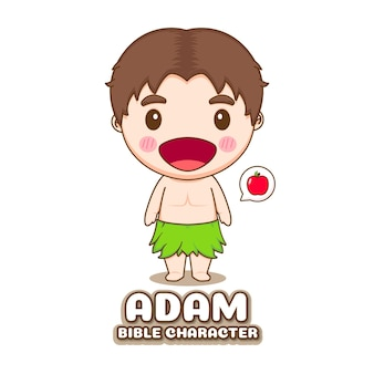 Simpatico personaggio biblico dei cartoni animati di adam chibi