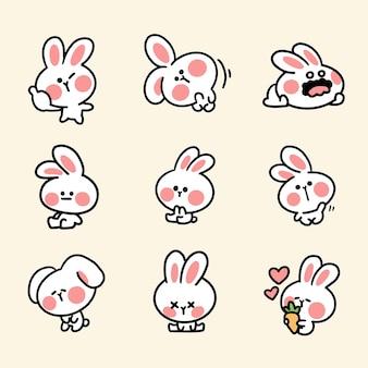 Adesivo coniglietto carino e adorabile primo set
