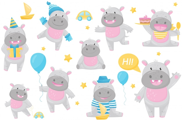 L'ippopotamo adorabile sveglio nelle situazioni differenti ha messo, illustrazione animale sorridente felice adorabile del personaggio dei cartoni animati del behemoth