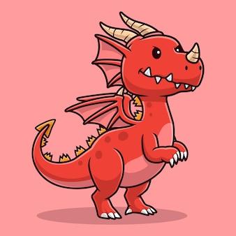 Illustrazione sveglia dell'icona di vettore del fumetto del drago adulto. concetto di icona natura animale isolato vettore premium. stile cartone animato piatto