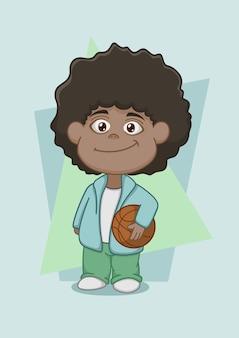 Carino ragazzo afroamericano con il basket