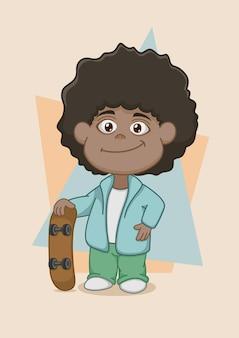 Carino ragazzo afroamericano con skateboard