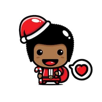 Carino afro boy indossando santa costume illustrazione