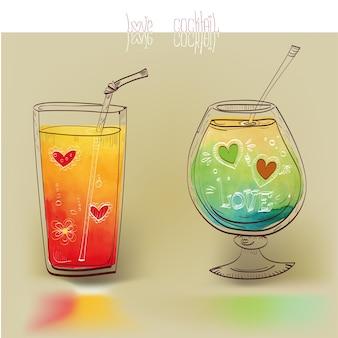 Collezione di bicchieri colorati abbozzati da cocktail alcolici carini