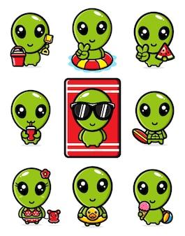 Simpatico pacchetto alieno con concetto estivo
