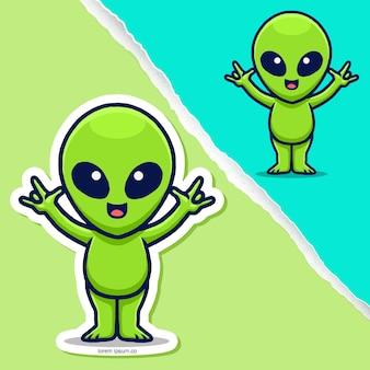 Simpatico cartone animato alieno, design del personaggio adesivo.