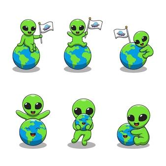 Simpatico cartone animato alieno con eart