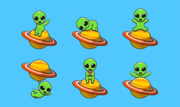 Simpatico cartone animato alieno con il pianeta saturno