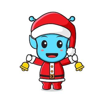 Simpatico alieno che celebra natale cartone animato scarabocchio icona illustrazione piatto stile cartone animato