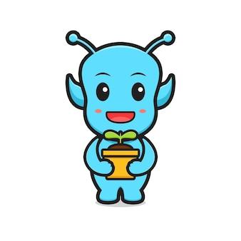 Illustrazione dell'icona di vettore del fumetto della pianta della holding aliena carina. design isolato. stile cartone animato piatto.