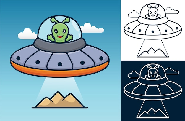 Simpatica invasione aliena. illustrazione di cartone animato in stile icona piatta