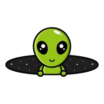 Simpatico personaggio mascotte alieno design