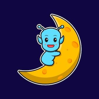 L'alieno sveglio si siede sull'illustrazione dell'icona di vettore del fumetto della luna. stile cartone animato piatto.