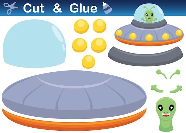 Simpatico ufo alieno. gioco di carta educativo per bambini. ritaglio e incollaggio. illustrazione dei cartoni animati