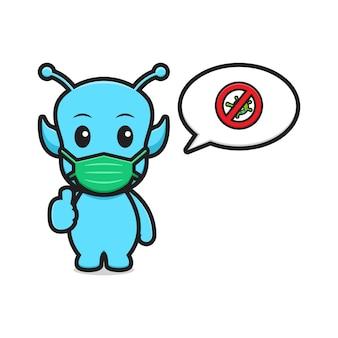 Simpatico alieno indossando maschera stop coronavirus bordo cartone animato icona vettore illustration.design isolato. stile cartone animato piatto.