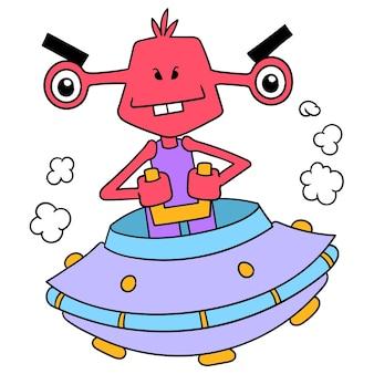 Un simpatico alieno con una strana forma vola usando un'astronave ufo a forma di piattino per esplorare lo spazio esterno, illustrazione vettoriale arte. scarabocchiare icona immagine kawaii.