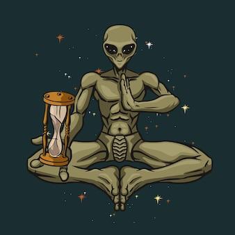 Illustrazione di yoga alieno carino