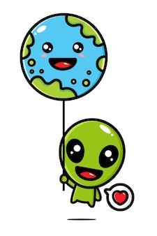 Simpatici alieni che volano con palloncini di terra