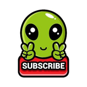 Simpatici alieni con un pulsante di iscrizione