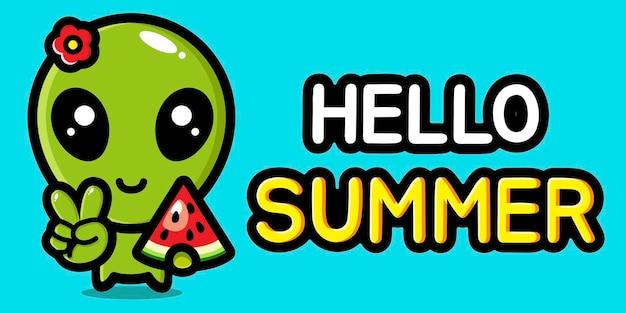 Simpatici alieni con banner di auguri estivi