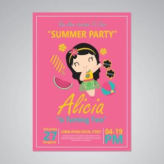 Ragazza carina aloha su sfondo rosa per carta di buon compleanno