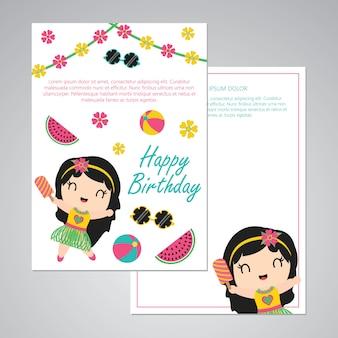 Carino aloha ragazza ed estate elementi per il set di carte buon compleanno