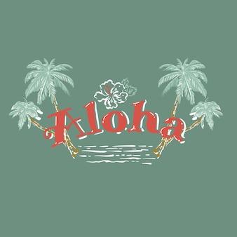 Simpatica citazione estiva aloha, con palma disegnata a mano, fiore di ibisco, onde. lettering vettoriale pennello per stampa, tshirt e poster. citazione ispiratrice sul colore di sfondo verde menta chiaro