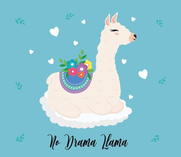 Animale esotico sveglio dell'alpaca con decorazione floreale e disegno dell'illustrazione dell'iscrizione