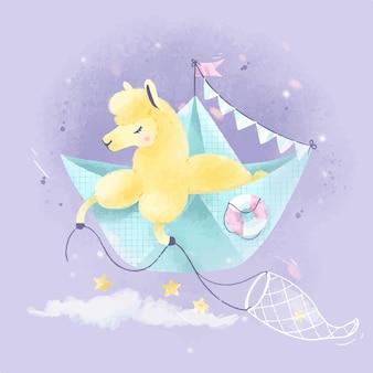 Il simpatico lama di alpaca galleggia su una barchetta di carta con le stelle. illustrazione