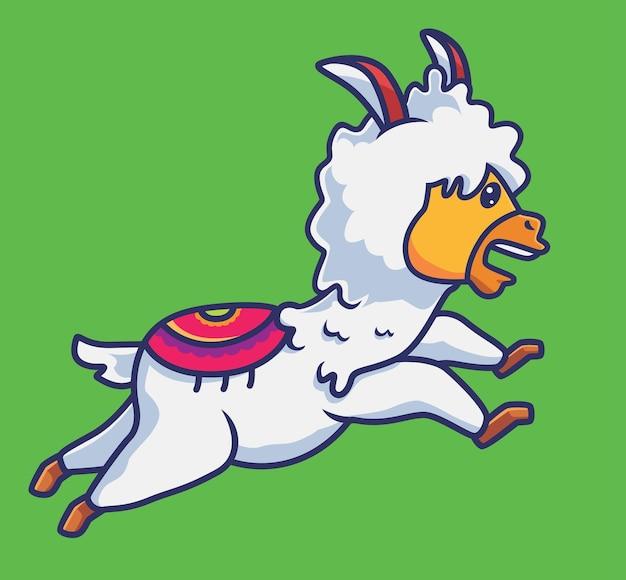 L'alpaca sveglio esegue il concetto di sport animale del fumetto di sport illustrazione isolata stile piano