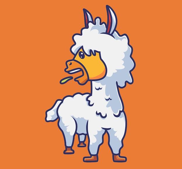 Simpatico alpaca spiedo cartone animato natura animale concetto illustrazione isolata stile piatto